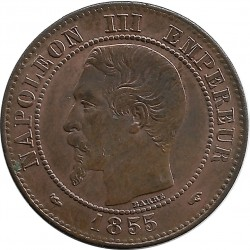 FRANCE 2 CENTIMES NAPOLEON III 1855 A CHIEN SUP