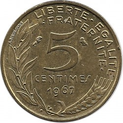 FRANCE 5 CENTIMES LAGRIFFOUL 1967 SUP-