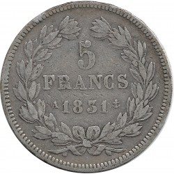 FRANCE 5 FRANCS LOUIS-PHILIPPE I 1831 A TRANCHE EN RELIEF TB+