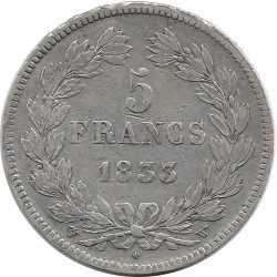 FRANCE 5 FRANCS LOUIS-PHILIPPE I 1833 W (Lille) TTB