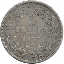 FRANCE 5 FRANCS LOUIS-PHILIPPE I 1837 A (Paris) TTB