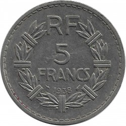 FRANCE 5 FRANCS LAVRILLIER NICKEL 1938 TTB