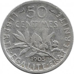 FRANCE 50 CENTIMES ROTY 1905 TB