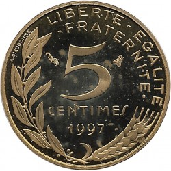 FRANCE 5 CENTIMES LAGRIFFOUL 1997 4 plis BE