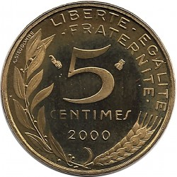 FRANCE 5 CENTIMES LAGRIFFOUL 2000 BE
