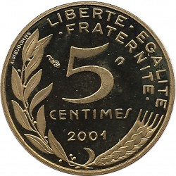 FRANCE 5 CENTIMES LAGRIFFOUL 2001 BE