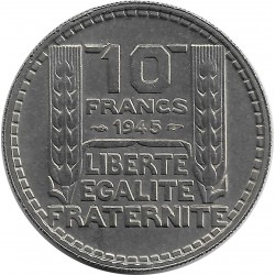 FRANCE 10 FRANCS TURIN GROSSE TETE RAMEAUX LONG 1945 SUP