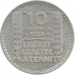 FRANCE 10 FRANCS TURIN ARGENT 1938 SUP