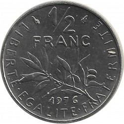 FRANCE 1/2 FRANC ROTY 1976 FDC