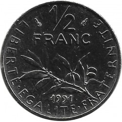 FRANCE 1/2 FRANC ROTY 1991 FRAPPE MEDAILLE BU