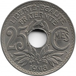 FRANCE 25 CENTIMES LINDAUER 1918 SUP-