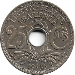 FRANCE 25 CENTIMES LINDAUER 1936 SUP+