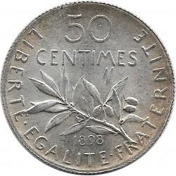 FRANCE 50 CENTIMES ROTY 1898 SUP