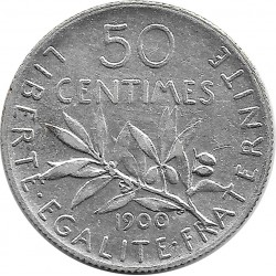 FRANCE 50 CENTIMES ROTY 1900 TTB
