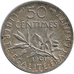 FRANCE 50 CENTIMES ROTY 1901 TTB