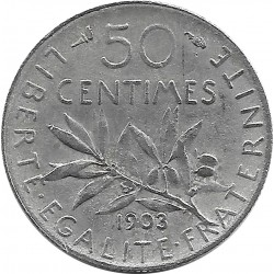 FRANCE 50 CENTIMES ROTY 1903 TTB