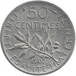 FRANCE 50 CENTIMES ROTY 1907 SUP