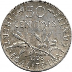 FRANCE 50 CENTIMES ROTY 1908 TTB+