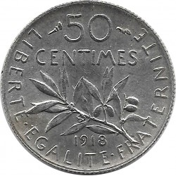 FRANCE 50 CENTIMES ROTY 1918 SUP-