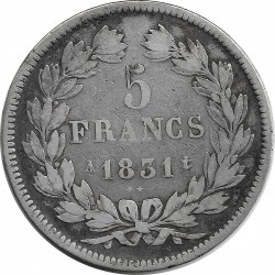 FRANCE 5 FRANCS LOUIS-PHILIPPE I 1831 A (Paris) TRANCHE EN RELIEF TB+
