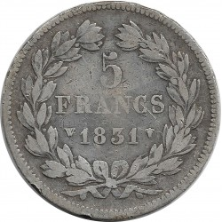 FRANCE 5 FRANCS LOUIS-PHILIPPE I 1831 W (Lille) TRANCHE EN RELIEF TB