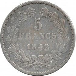 FRANCE 5 FRANCS LOUIS-PHILIPPE I 1842 W (Lille) TB+