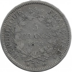 FRANCE 5 FRANCS HERCULES DUPRE 1878 K (Bordeaux) TB+