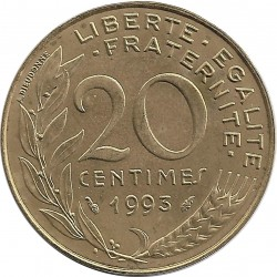 FRANCE 20 CENTIMES LAGRIFFOUL 1993 FRAPPE MEDAILLE SUP/NC