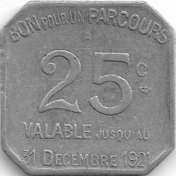 75 PARIS - PARIS 25 CENTIMES TRANSPORT EN COMMUN 1921 TTB