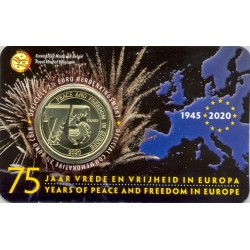 BELGIQUE 2020 2.50 EURO 75 ANS DE PAIX ET DE LIBERTE EN EUROPE COINCARD VERSION FLAMAND