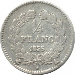 FRANCE 1/4 FRANC LOUIS PHILIPPE 1835 A (Paris) TTB