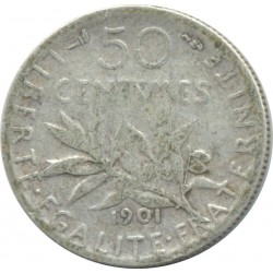 FRANCE 50 CENTIMES ROTY 1901 TB