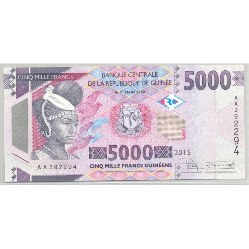 GUINEE (BANQUE CENTRALE) 5000 FRANCS 2015 SERIE AA 294 NEUF