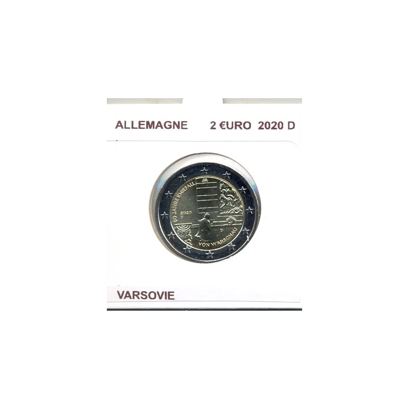 ALLEMAGNE 2020 D  2 EURO COMMEMORATIVE VARSOVIE SUP