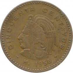 MEXIQUE 50 CENTAVOS 1956 TTB