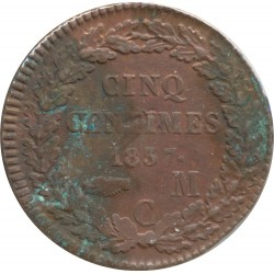 MONACO 5 CENTIMES 1837 MC SUP